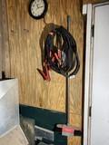 Jumper Cables, Clock, broom