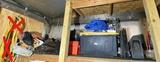 Large shelf lot of assorted items Inc. Tarps, rope