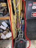 Jack, tire tubes in boxes, assorted items in garage