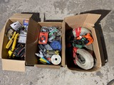 3 Boxes of Assorted Tools, Straps etc in Garage