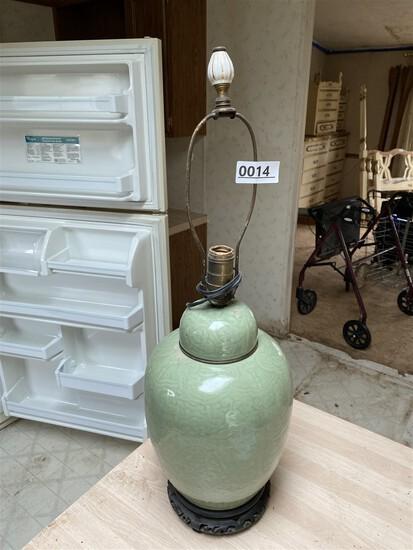 Antique Chinese Celadon Green Ginger Jar Dragon Lamp