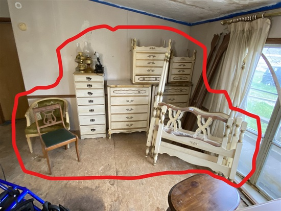 Vintage Bedroom set, oil lamps, chairs
