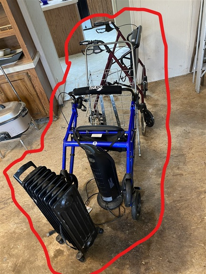 2 heaters, walkers with brakes etc lot