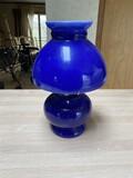 Antique Blue Glass Oil Lamp