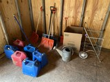 Misc. Lot Fuel Cans, shovels, galvanized watering can etc