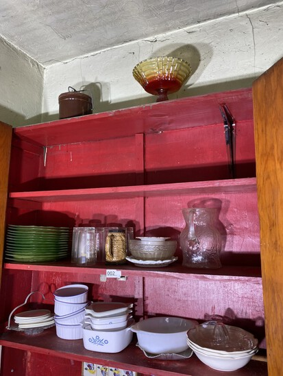 Cupboard lot including stack of green depression glass plates