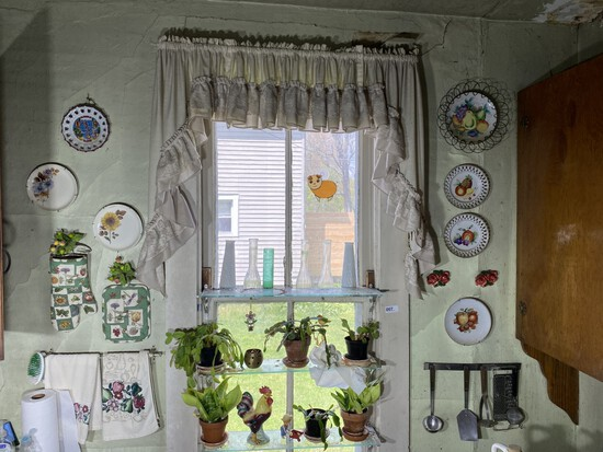 Vintage items on kitchen wall lot