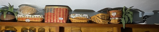 Duck decoy, group lot of Longaberger baskets etc