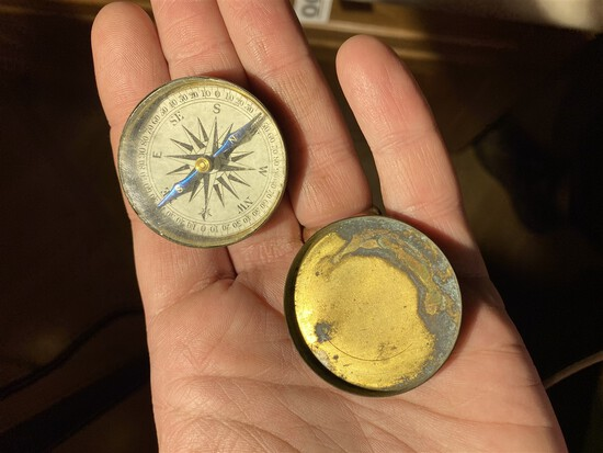 Nice 19th century brass pocket compass