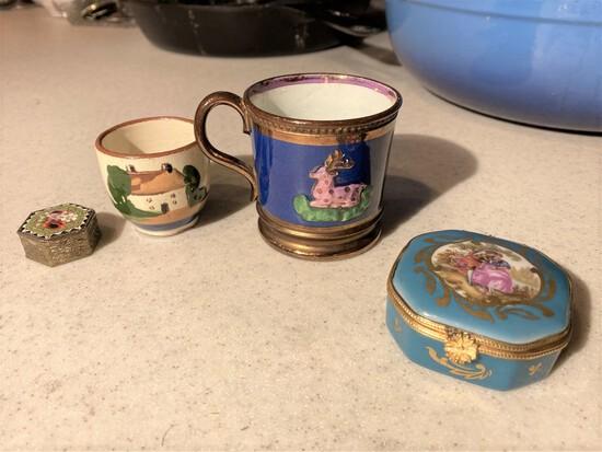 Mosaic box, Torquay cup, limoges box etc.