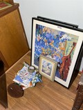 Framed art, outdoor thermometer etc lot