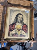 Early Currier & Ives framed print of Jesus