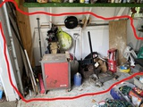 Tool cabinet, jack, other assorted garage items
