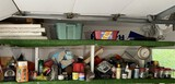 Assorted items on garage shelves