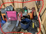 Items at back of barn lot including socket set