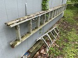 Large extension ladder, small ladder, buckets lot