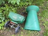 Scotts Broadcast Spreader Plus leaf bagging tool