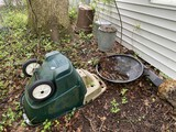 Galvanized garbage cans, plastic can, garden cart lot
