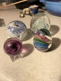 Group lot of four vintage paperweights inc. signed