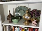 Shelf lot of art pottery, decor