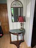 Demilune table, lamp and mirror lot