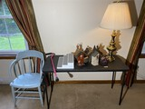 Early chair, table, lamp, birdhouses etc lot