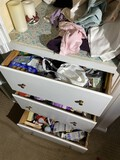 Closet and drawer contents lot - Bathroom, home odds & ends