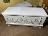 Vintage painted Lane cedar trunk with contents