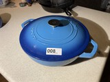 Nice Blue Enamel Cast Iron Crofton lidded pot