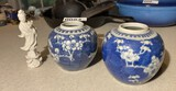 2 Antique Chinese Ginger Jars plus statue