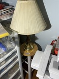 Stool and brass lamp lot