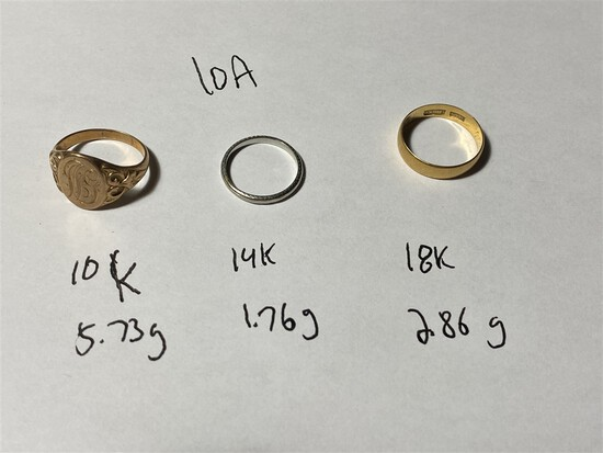 Group lot 10k, 14k, 18k Gold Rings