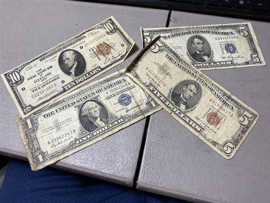 Group lot of old paper money notes