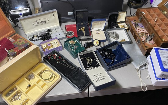 Large lot assorted costume jewelry and more