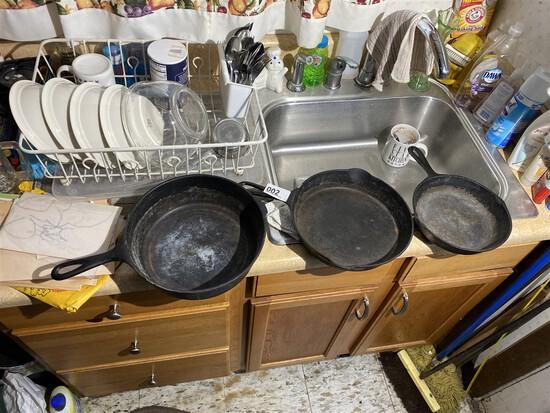 Group lot of 3 antique cast iron pans