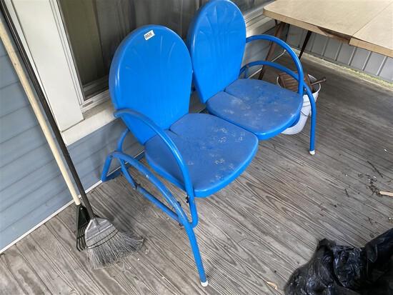 Vintage Blue Metal Porch Swing Double Seat