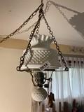 Vintage Milk Glass Hobnail hanging lamp