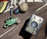 Antique Kilgore metal toy car, paperweight, camera etc lot