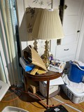 Demilune inlaid table, brass lamp, other items in hall