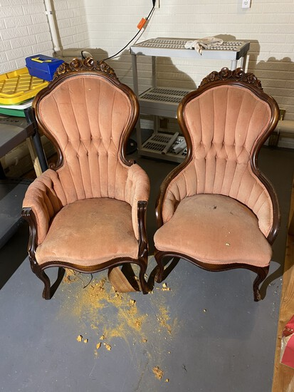 Pair of Victorian Style Chairs PLUS Shelves etc