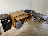 Coffee table, desk, shredder, file cabinet