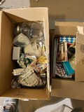 2 boxes assorted games, stove clocks etc.