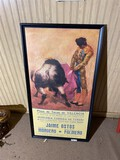 Vintage Bullfighting Poster in Frame
