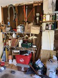 Huge lot assorted garage items, tools