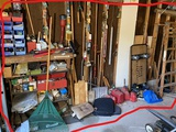 Wall lot of assorted garage items