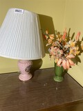 Pink lamp and small green vase