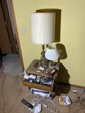 2 Lamps, stand and contents lot