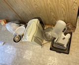 Paper shredder and other items on floor