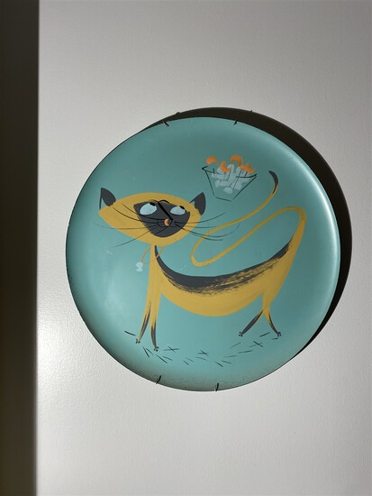 1950s Painted Metal Mid Century Modern Plate PLUS