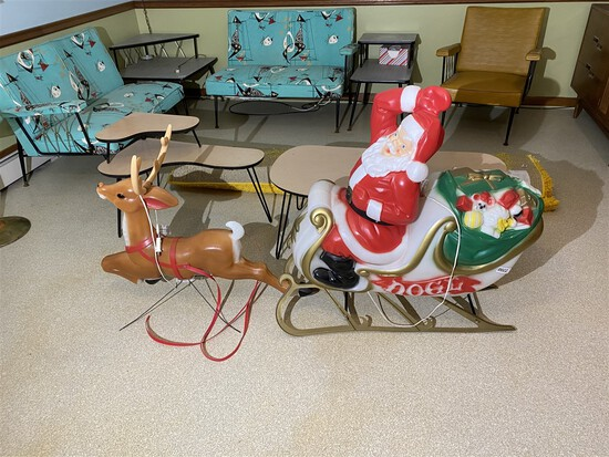 Blow Mold Light Up Santa Claus on Sleigh PLUS Reindeer